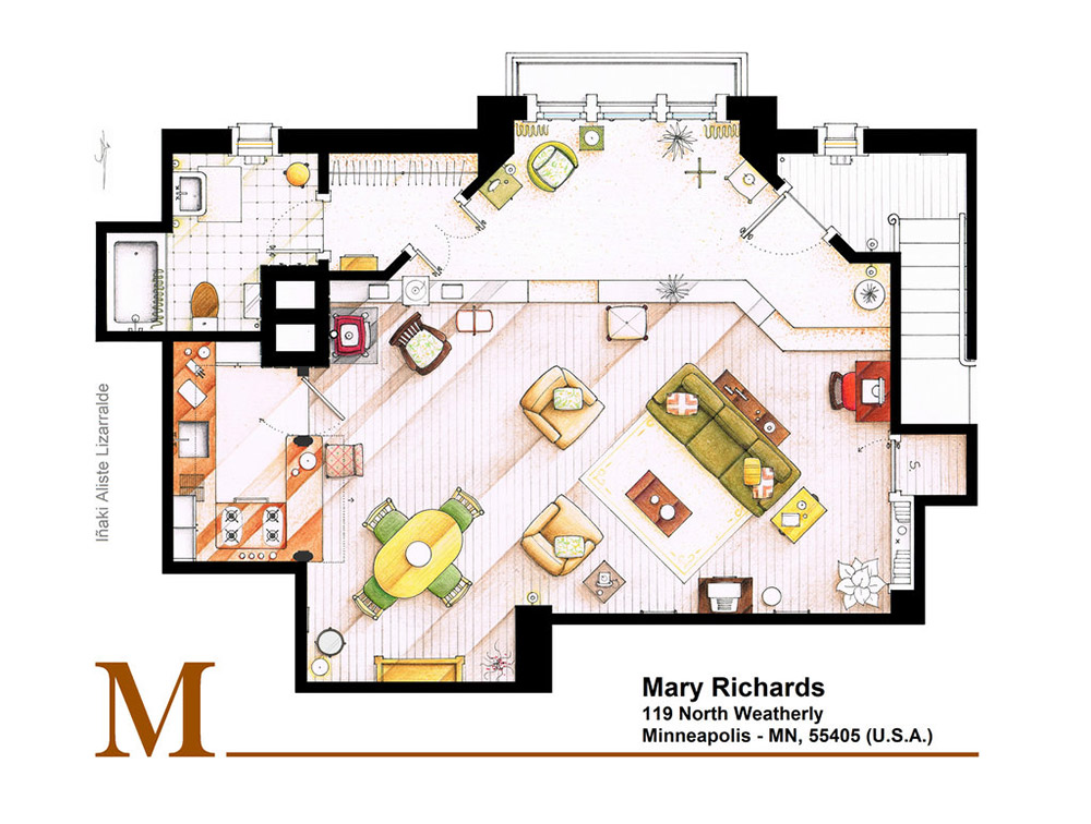 Mary tyler moore 39 s famous apartment floor plan for Floor plans of famous houses