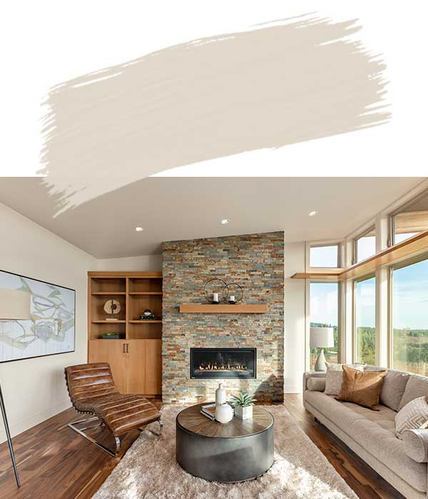 Family Room with Kestrel White Wall Paint Color