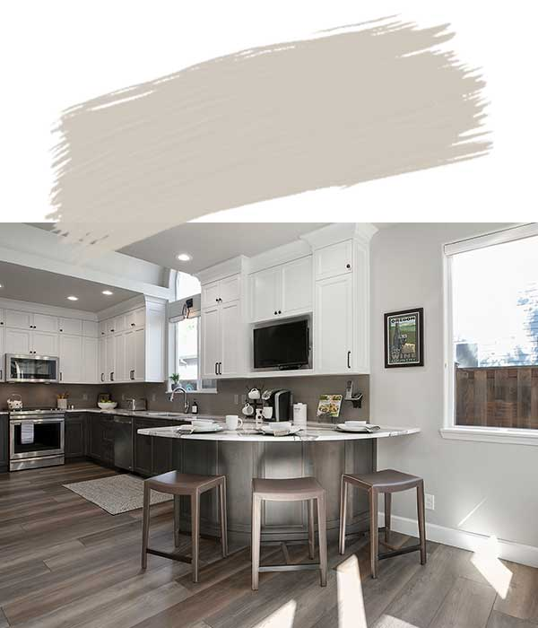 Kitchen with Worldly Gray Wall Paint Color
