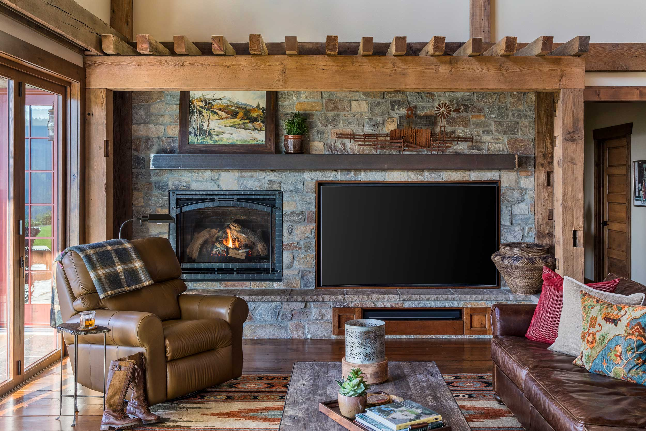 Rustic TV and fireplace wall