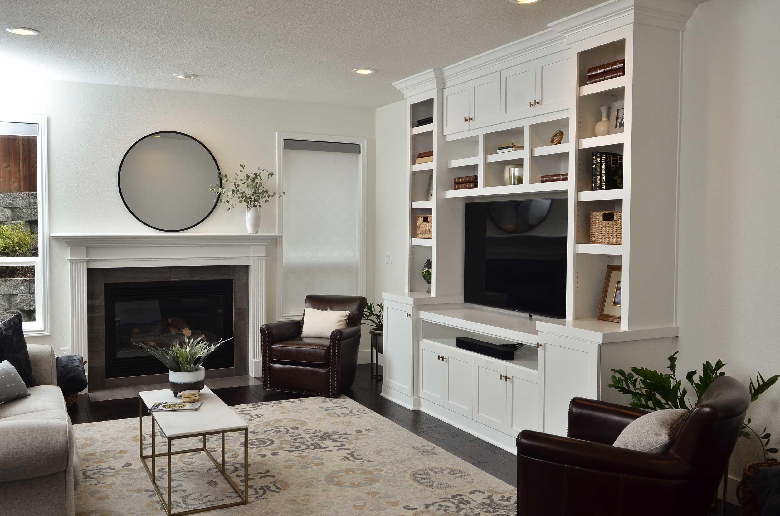 White painted media cabinets for TV and storage.