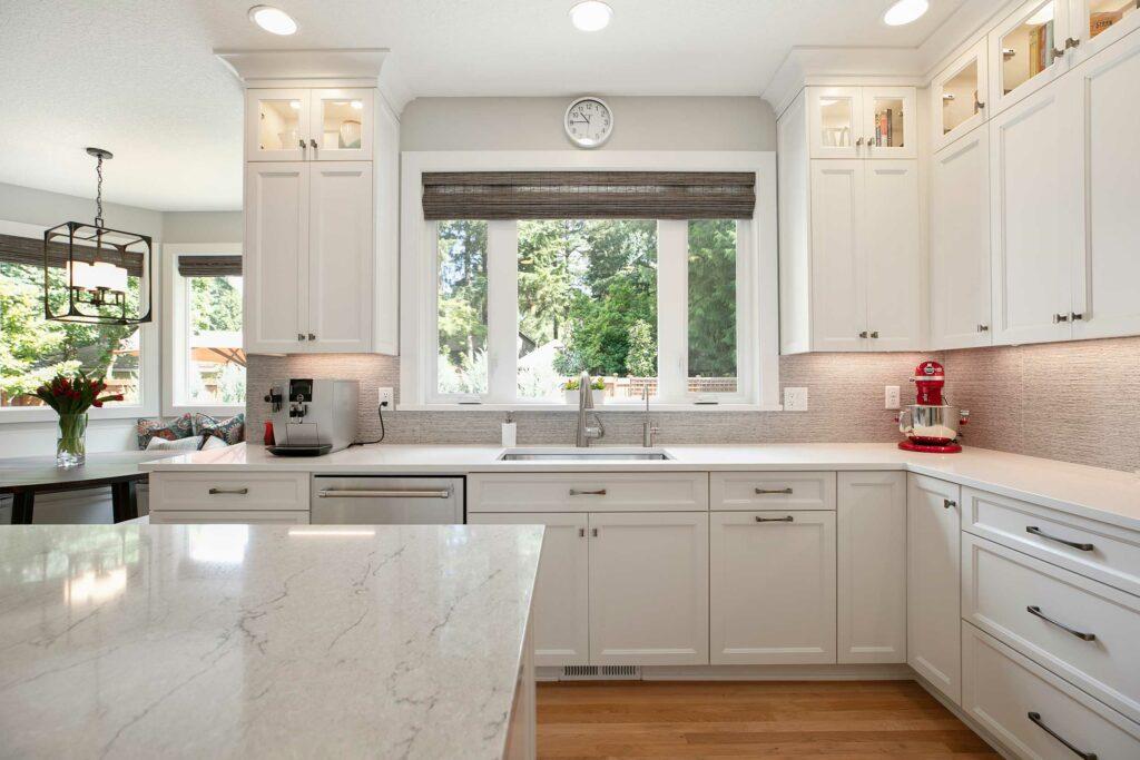 White kitchen with quartz countertop